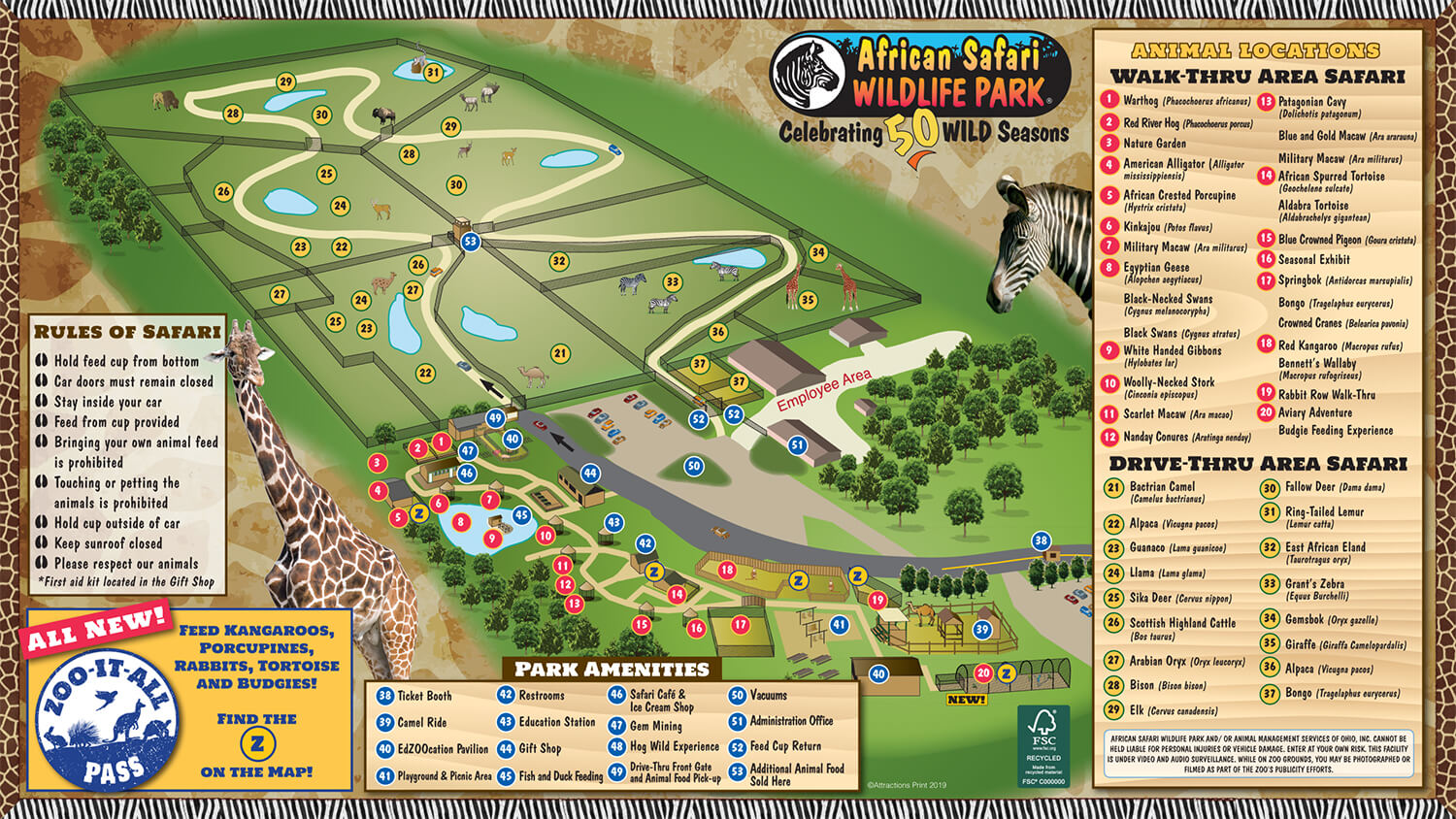 african safari wildlife park map